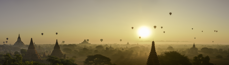 Panorama à Bagan en Birmanie